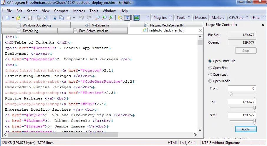 EmEditor Professional 19.1.0 & Clave de registro (Ultima versión)