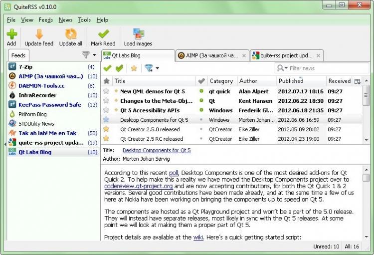 QuiteRSS Portable 0.18.12 para Windows (Ultima versión)