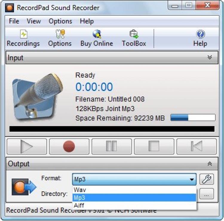 RecordPad Sound Recording 5.35 para Windows (Ultima versión)